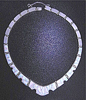 Calvin Begay Opal Inlay Sterling Silver Necklace USA (Image1)