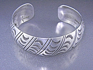Native American Stamped Sterling Silver Cuff W. Tracy