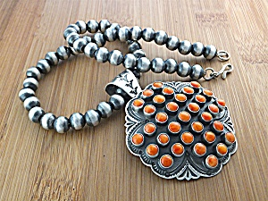 Sunshine Reeves Coral Pendant Sterling Silver Beads   (Image1)