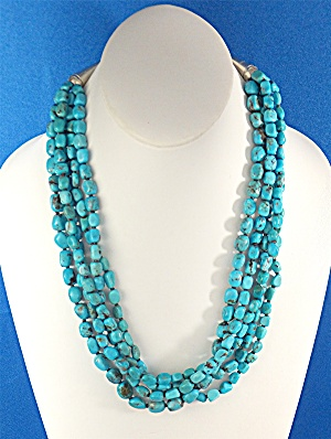 Native American Sleeping Beauty Turquoise 5 Strand Ster
