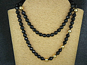 Monet Black Faceted Glass Gold Beads Necklace