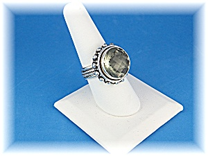 Ring Sterling Silver Round Green Amethyst  (Image1)