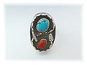 Native American Sterling Silver Coral Turquoise Snake