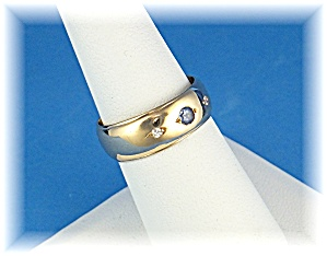 Ring 14k Gold Band Diamonds and Ceylon Sapphire (Image1)