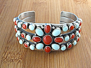 Native American Dry Creek Turquoise Coral Sterling Silv (Image1)