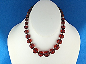 Necklace Cherry Amber Faceted Graduated Poland (Image1)