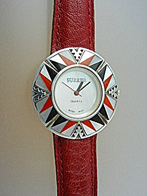 Surrisi Sterling Silver Coral Mother Pearl Wristwach (Image1)