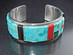 Native American Sterling Silver Turquoise Coral Onyx Cu (Image1)