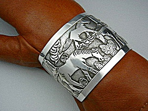 Native American Sterling Silver Horses Cuff Becenti BCT (Image1)