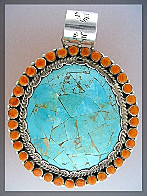 Sterling Silver Turquoise Pendant By Luciano Chavez