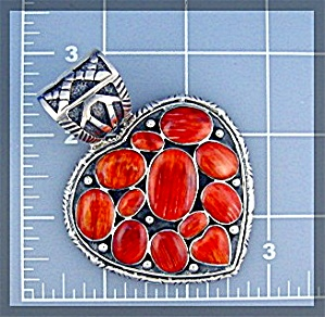 Pendant  Spiny Oyster Heart  Sterling Silver Signed CL (Image1)