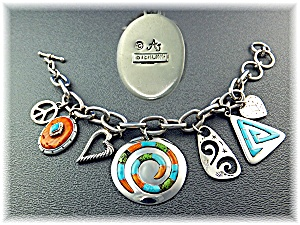 Bracelet Sterling Silver Charms Inlay A.j. Toggle