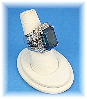 Ring London Blue Topaz Green Diamonds Sterling Silver