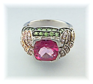 Ring Pink Topaz White Topaz Peridot Sterling Silver