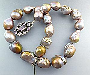 Keshi Pink Natural Pearls Sterling Silver Amethyst Clas (Image1)