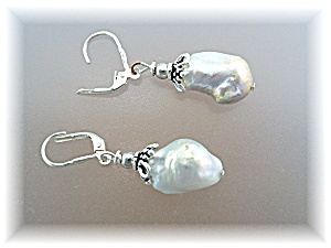 Earrings Sterling Silver Baroque Pearl Leverback