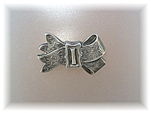 Brooch Pin Sterling Silver Bow English Hallmark 1800s (Image1)