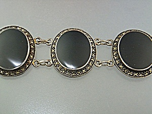 Bracelet Sterling Silver Onyx Marquisite Antique
