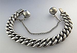 Bracelet Sterling Silver Curb Link Silver Balls UK (Image1)