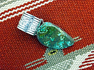 Pendant Nakai Sterling Silver Morenci Turquoise Usa