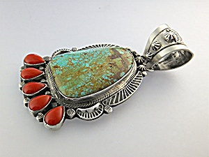 Native American Coral Turquoise Sterling Silver L.JAMES (Image1)