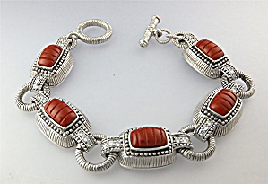 Bracelet Apple Coral CZ Sterling Silver JUDITH RIPKA  (Image1)