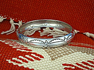 Native American Sterling Silver Stamped Bangle USA (Image1)