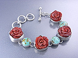 Charles Albert Coral Turquoise Sterling Silver Bracelet (Image1)