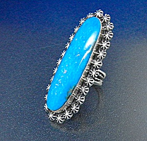 Navajo Kingman Turquoise Sterling Silver Ring Signed