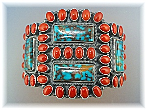 KIRK SMITH Sterling Silver Turquoise Coral  Cuff (Image1)