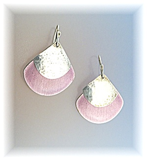Sterling Silver Lavender Enamel Pierced Earrings (Image1)