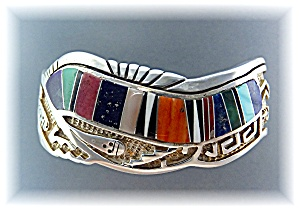 CALVIN BEGAY Sterling Silver Turquoise Coral Inlay Cuff (Image1)