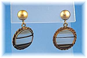 Earrings 14K Gold Ball Post Gold Fill Glass Drop (Image1)