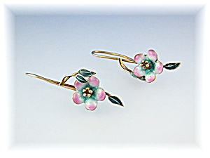 Earrings Enamel Pink Green Gold Fill Loop Earrings