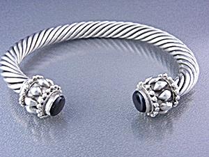 Sterling Silver Black Onyx Cuff Bracelet Bali (Image1)