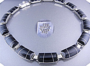 Taxco Mexico Sterling Silver Onyx Inlay Necklace  (Image1)