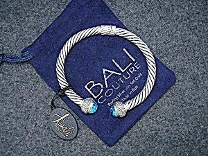 18K Gold Sterling Silver Blue Topaz Bali Couture Bracel (Image1)
