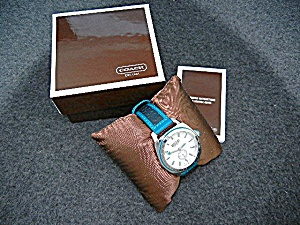 Coach Wristwatch Turquoise Black Leather Band