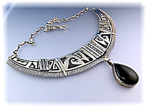 Necklace Sterling Silver Onyx Pendant ROBERT KELLY (Image1)