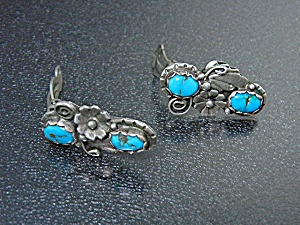 Native American Sterling Silver Turquoise Clip Earrings