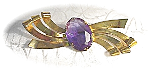 CORO Amethyst Brooch Sterling Craft By CORO Amethyst (Image1)