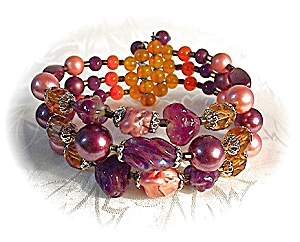 One Size Fits All Glass & Faux Pearl Bracelet (Image1)