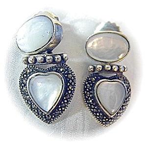Sterling Silver Mother Marquisite Heart Post Earrings