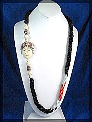 Ivory Beads Face Coral Onyx Cloisinee Necklace