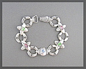 Silvertone Magnetic Clasp Jeweled Bracelet 7 1/2 Inch (Image1)