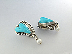 David Troutman Sterling Silver Turquoise Pearl Earrings (Image1)