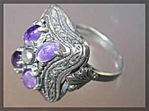 Sterling Silver Cabochon Amethyst Ring Vintage (Image1)