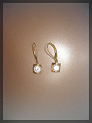 Earrings 14K Gold CZ Leverback Dangle Pierced  (Image1)