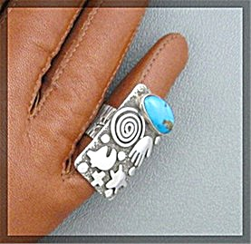 Alex Sanchez Sterling Silver Turquoise Petrogliph Ring