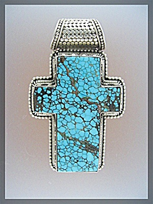 Tibetan Turquoise Sterling Silver  Cross Pendant (Image1)